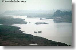 asia, boats, fishing, horizontal, landscapes, misty, rivers, vietnam, photograph