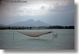 asia, fishing, horizontal, landscapes, nets, over, vietnam, water, photograph