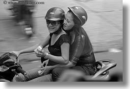 activities, asia, asian, black and white, eating, emotions, horizontal, laugh, motorcycles, people, saigon, smiles, vietnam, womens, photograph