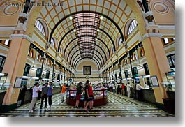 archways, asia, ceilings, hallway, horizontal, post office, saigon, vietnam, photograph