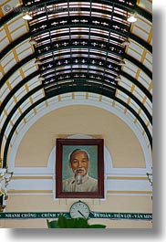 archways, asia, ceilings, clocks, portraits, post office, saigon, vertical, vietnam, photograph
