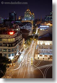aerials, asia, buildings, cityscapes, downview, long exposure, nite, saigon, streets, structures, traffic, vertical, vietnam, photograph