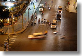 aerials, asia, buildings, cityscapes, downview, horizontal, nite, saigon, slow exposure, streets, structures, traffic, vietnam, photograph