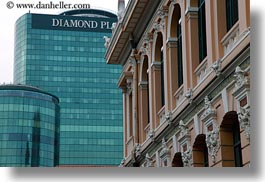 asia, buildings, diamonds, horizontal, plaza, saigon, vietnam, photograph