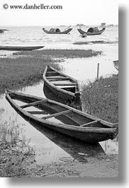 asia, black and white, boats, vertical, vietnam, villages, water, photograph