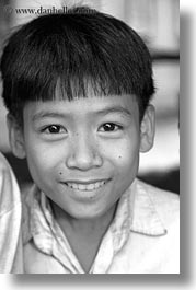 asia, asian, black and white, boys, emotions, people, smiles, vertical, vietnam, villages, photograph