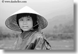 asia, asian, black and white, clothes, conical, emotions, girls, hats, horizontal, people, smiles, vietnam, villages, photograph