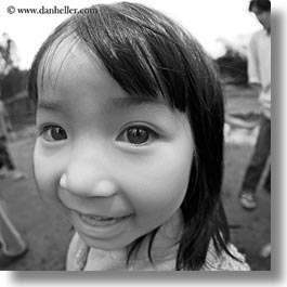 asia, asian, black and white, emotions, fisheye lens, girls, people, smiles, square format, vietnam, villages, photograph