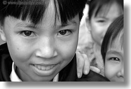 asia, asian, black and white, emotions, girls, horizontal, people, smiles, vietnam, villages, photograph