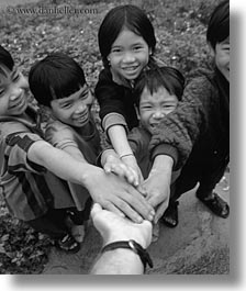 asia, asian, black and white, childrens, emotions, hands, people, smiles, touching, vertical, vietnam, villages, photograph