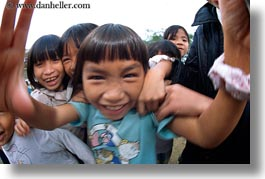 asia, asian, emotions, fisheye lens, girls, horizontal, humor, laugh, people, smiles, vietnam, villages, photograph