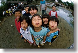 asia, asian, childrens, downview, emotions, fisheye lens, groups, horizontal, people, perspective, smiles, vietnam, villages, photograph