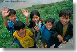 asia, asian, childrens, downview, emotions, groups, horizontal, people, perspective, smiles, vietnam, villages, photograph