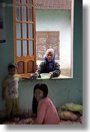asia, asian, childrens, old, people, vertical, vietnam, villages, windows, womens, photograph
