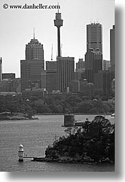 australia, black and white, buildings, cities, cityscapes, skyscrapers, space needle, structures, sydney, vertical, photograph