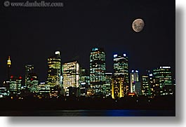 australia, buildings, cityscapes, horizontal, moon, nature, nite, sky, structures, sydney, photograph