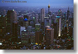 aerials, australia, buildings, cityscapes, horizontal, nite, space needle, structures, sydney, photograph