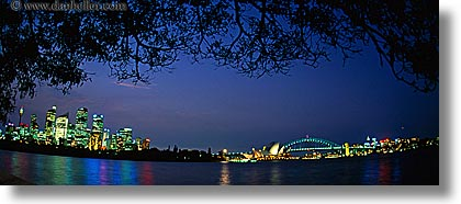 australia, branches, buildings, cityscapes, horizontal, nature, nite, panoramic, plants, structures, sydney, trees, photograph