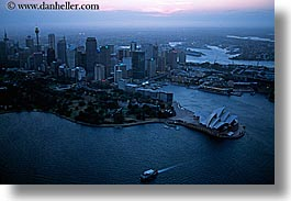 areial, australia, buildings, cityscapes, dusk, horizontal, nite, opera house, structures, sydney, photograph