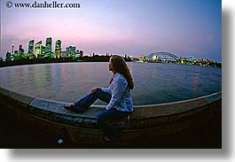 australia, bridge, buildings, cityscapes, dusk, horizontal, jills, nite, people, structures, sydney, tourists, womens, photograph