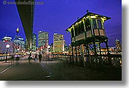 australia, bridge, buildings, cityscapes, horizontal, nite, promenade, structures, sydney, photograph