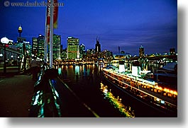 australia, boats, buildings, cityscapes, horizontal, nite, restaurants, rivers, structures, sydney, photograph