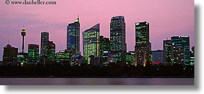 australia, buildings, cityscapes, dusk, horizontal, nite, panoramic, space needle, structures, sydney, photograph