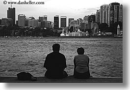 australia, black and white, buildings, cityscapes, couples, horizontal, people, structures, sydney, photograph