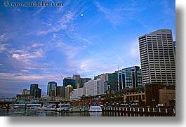 australia, buildings, cityscapes, clouds, dusk, horizontal, moon, nature, sky, structures, sydney, water, photograph