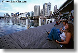 australia, buildings, cityscapes, couples, girls, horizontal, people, piers, structures, sydney, teenagers, photograph
