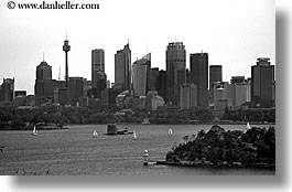australia, black and white, buildings, cityscapes, horizontal, space needle, structures, sydney, photograph