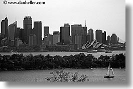 australia, black and white, boats, buildings, cityscapes, horizontal, sailboats, structures, sydney, transportation, photograph