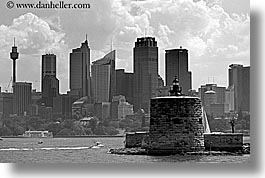 australia, black and white, buildings, cityscapes, clouds, horizontal, nature, sky, space needle, structures, sydney, photograph