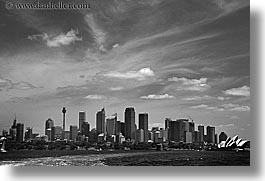 australia, black and white, buildings, cityscapes, clouds, horizontal, nature, opera house, sky, space needle, structures, sydney, photograph