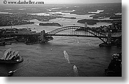 aerials, australia, black and white, bridge, dusk, harbor bridge, horizontal, nite, structures, sydney, photograph