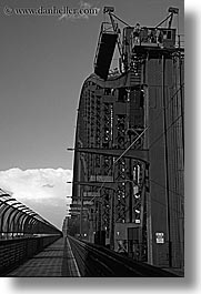 australia, black and white, bridge, harbor bridge, industrial, structures, sydney, vertical, photograph