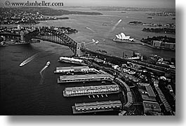 aerials, australia, black and white, bridge, harbor bridge, horizontal, opera, ports, structures, sydney, photograph