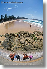australia, beaches, fisheye, manly beach, sydney, vertical, photograph