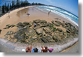 australia, beaches, fisheye, horizontal, manly beach, sydney, photograph