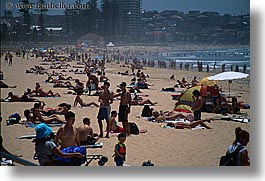 australia, beaches, crowded, crowds, horizontal, manly beach, people, sydney, photograph