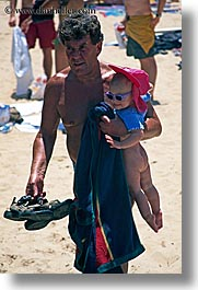 australia, babies, clothes, fathers, girls, hats, humor, manly beach, men, naked, people, sydney, vertical, photograph