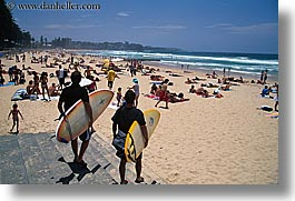 australia, beaches, crowds, horizontal, manly beach, people, surfers, sydney, photograph