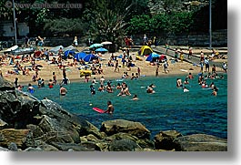 australia, beaches, crowds, horizontal, manly beach, people, rocks, swimmers, sydney, photograph
