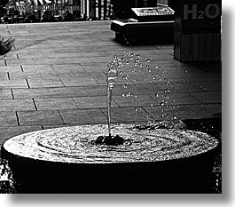 australia, black and white, fountains, horizontal, structures, sydney, water, water fountain, photograph