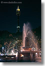 australia, fountains, lights, nite, structures, sydney, vertical, water, photograph