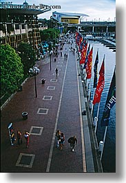 australia, cityscapes, flags, pedestrians, people, promenade, sydney, vertical, photograph