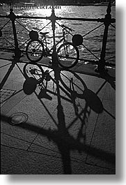 australia, bicycles, black and white, railing, shadows, silhouettes, sydney, transportation, vertical, photograph
