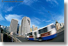 australia, buildings, bus, cityscapes, horizontal, motion blur, speeding, structures, sydney, photograph