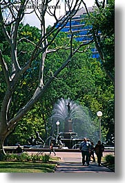 australia, fountains, lamp posts, nature, park, plants, shade tree, structures, sydney, trees, vertical, water, photograph