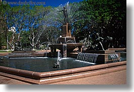 australia, fountains, horizontal, nature, park, plants, shade tree, structures, sydney, trees, water, photograph